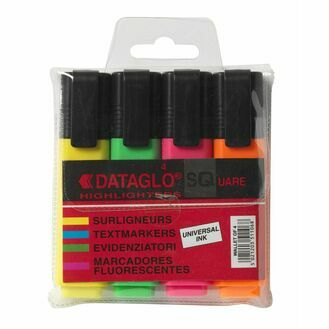 Dataglo Sq Highlighter - Pack Of 4 (mixed)